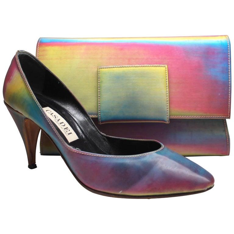 Casadei Rainbow Holographic Heel and Clutch Set