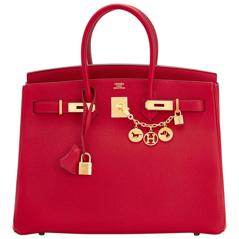 Hermes Rouge Vif Togo Gold Hardware Birkin 35 Bag