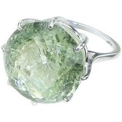 Sparkling Green Beryl in Sterling Ring