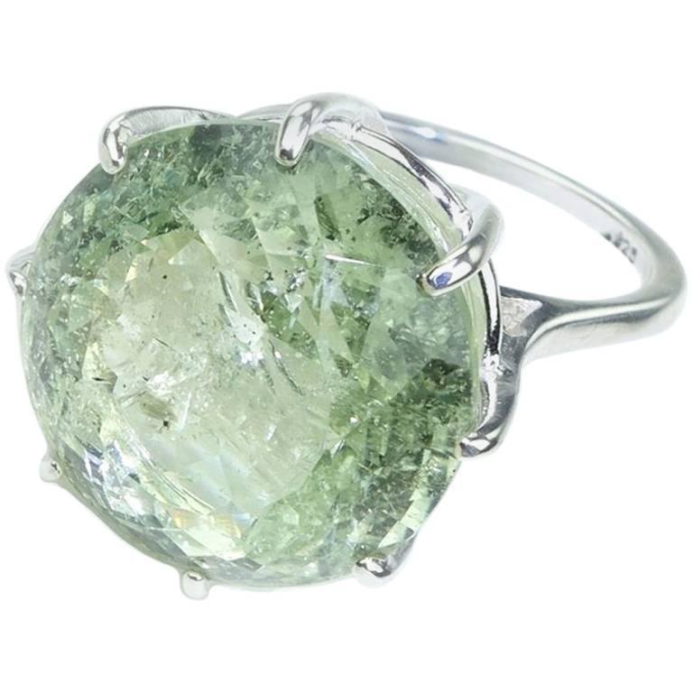 Sparkling Green Beryl in Sterling Ring For Sale