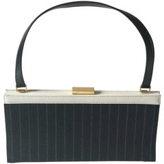 Escada Handbag, black diplomatic stripe canvas  and white leather.