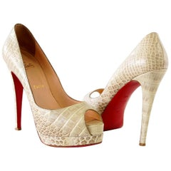 Christian Louboutin Shoe Altadama Alabastro Crocodile Peep Toe Pumps 38.5 / 8.5