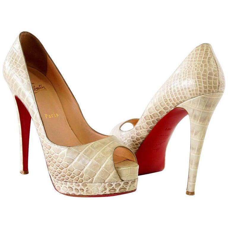 Christian Louboutin Shoe Altadama Alabastro Crocodile Peep Toe Pumps 38.5 / 8.5