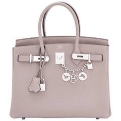 Hermes Birkin 30 Gris Asphalte Dove Grey Togo Palladium Hardware Birkin Bag