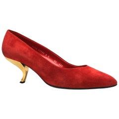 Roger Vivier Red Suede Comma or 'Virgule' Heel