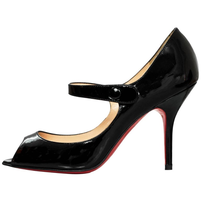 Christian Louboutin Black Patent Peep Toe Mary Jane Pumps Sz 35 5