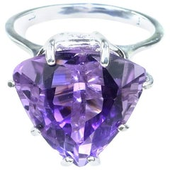 Sparkling Amethyst Trillion in Sterling Silver Ring  February Birthstone