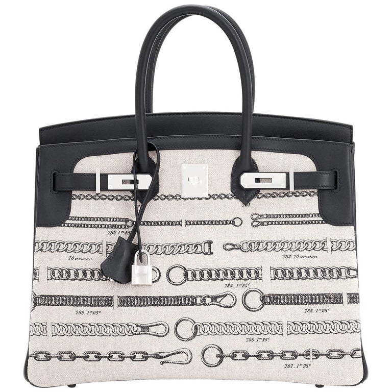 Hermes VIP 35 De Camp Dechainee Toile Swift Chevre Limited Edition Birkin Bag For Sale