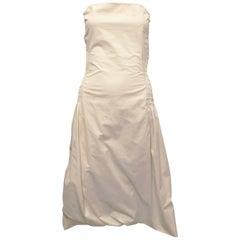 Donna Karan Cotton Smocked Strapless Dress, 1990s
