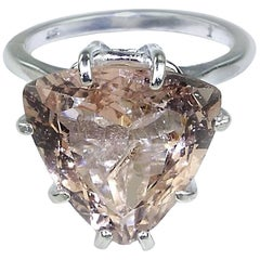 7.22 Carat Morganite Trillion in Sterling Silver Ring