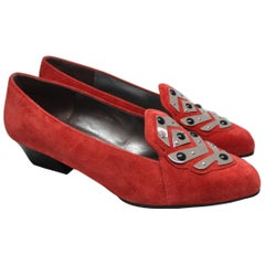 Charles Jourdan Red Suede Loafer, 1980s