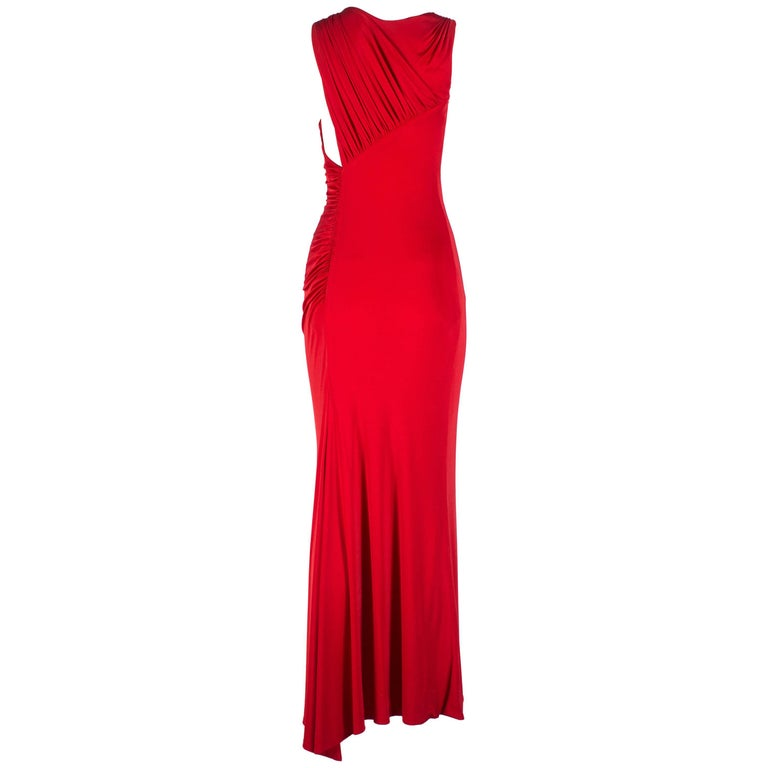 Gianni Versace red silk jersey pleated full length evening dress, 1990s