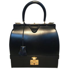 Hermes Vintage Black Box Calf Sac Mallette Handbag