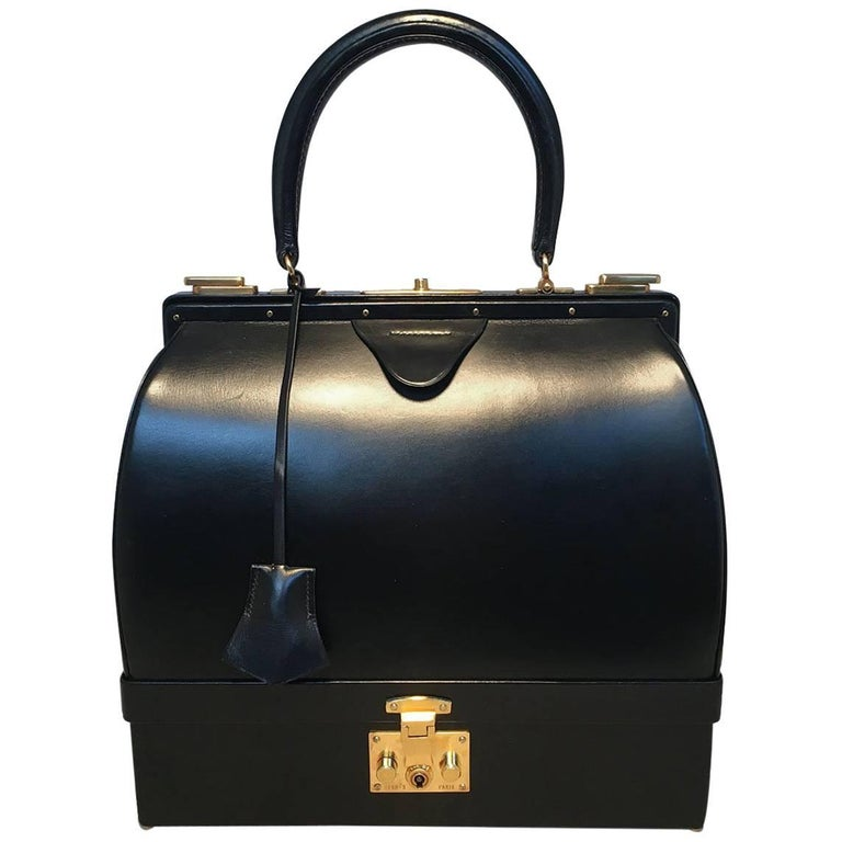 Hermes Vintage Black Box Calf Sac Mallette Handbag