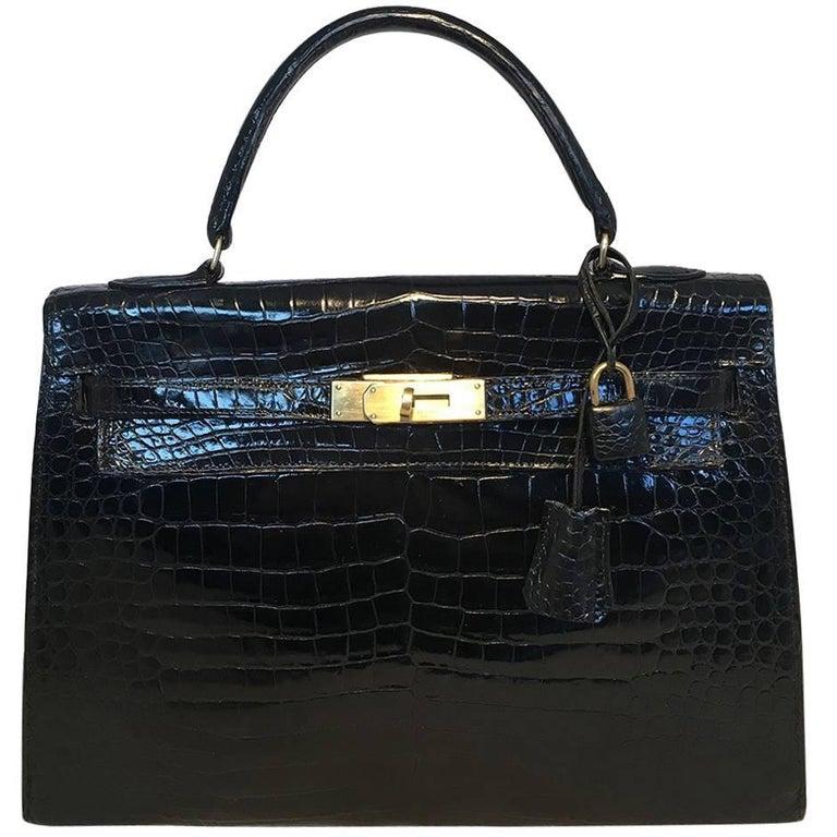 Hermes Vintage Black Crocodile 32cm Kelly Bag