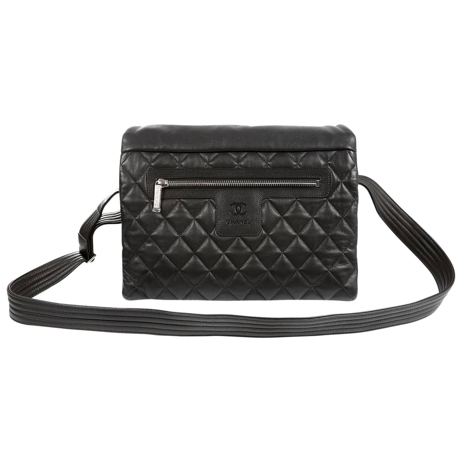 Chanel Black Caviar Large Coco Cocoon Messenger Bag