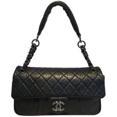 Chanel Black Textured Quilted Calfskin Classic Flap Shoulder Bag