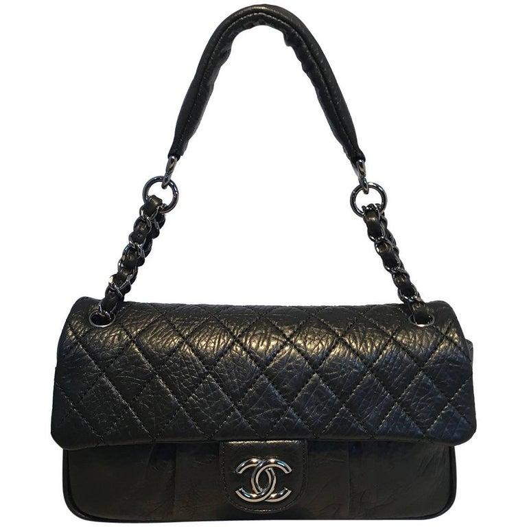 Chanel Black Textured Quilted Calfskin Classic Flap Shoulder Bag