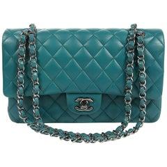 994a8ef1c781 Chanel Teal Lambskin Medium Classic Double Flap Bag