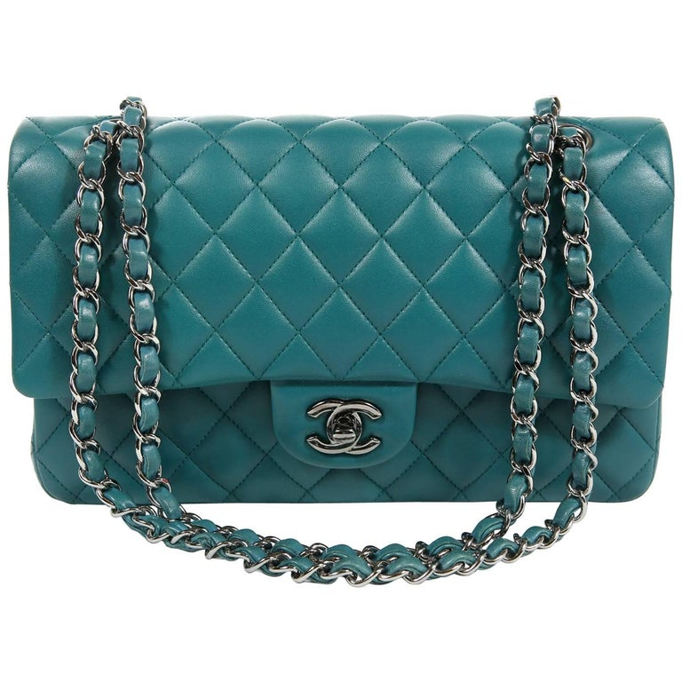 Chanel Teal Lambskin Medium Classic Double Flap Bag