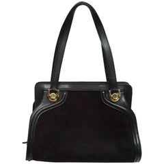 Salvatore Ferragamo Black Suede and Leather Top Handle Handbag