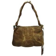 Emanuel Ungaro Brown Swede Handbag w/ Jaguar Detail
