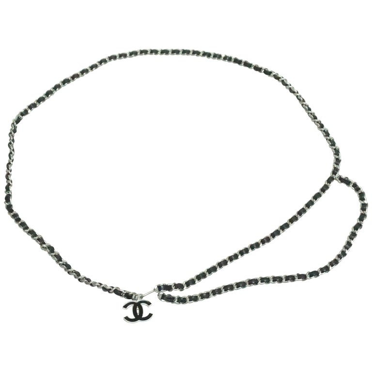 Chanel Black Leather and Silver Chain Link Belt - 90A