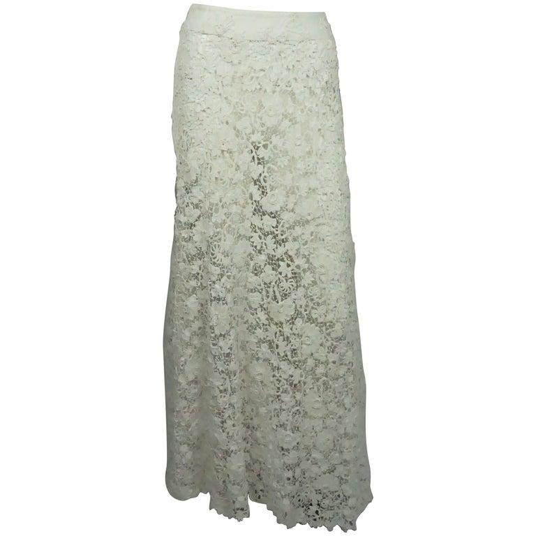 Ralph Lauren Vintage Ivory Irish Crochet 1900's Lace Skirt - NWT