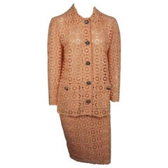 Dolce & Gabbana Coral Lace Skirt Suit
