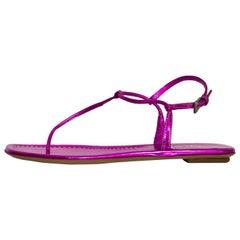 Prada Pink Metallic T-Strap Sandals Sz 35.5 NEW