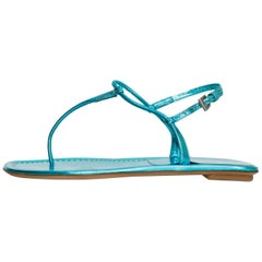 Prada Blue Metallic T-Strap Sandals Sz 35.5 NEW
