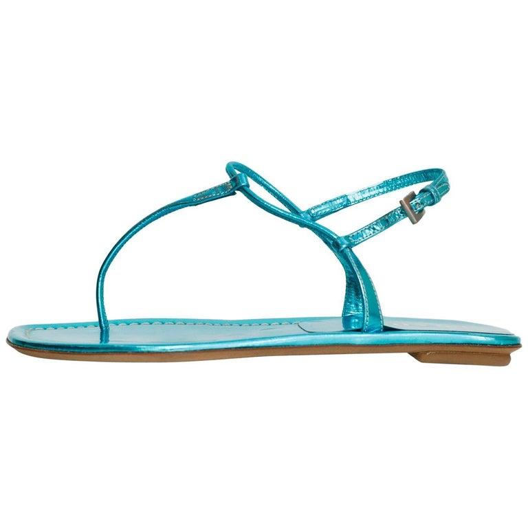 Prada Blue Metallic T-Strap Sandals Sz 35.5 NEW