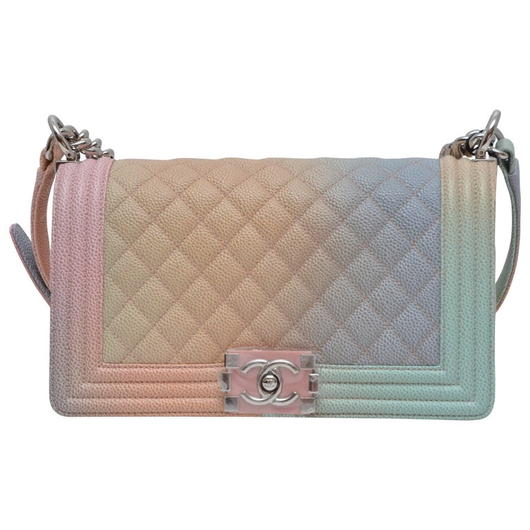 b35ccd580bdfb4 Chanel Rainbow Old Medium Crossbody Pink Caviar Boy Bag, 2018 For Sale.  Very Rare & Limited Edition ...