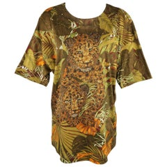 SALVATORE FERRAGAMO Size XS Olive Leaves & Tigers Jungle Print Cotton T-shirt