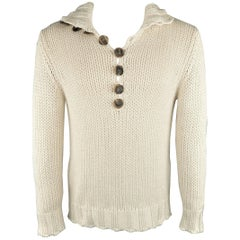 Salvatore Ferragamo Beige Knitted Silk / Cashmere Half Button Sweater
