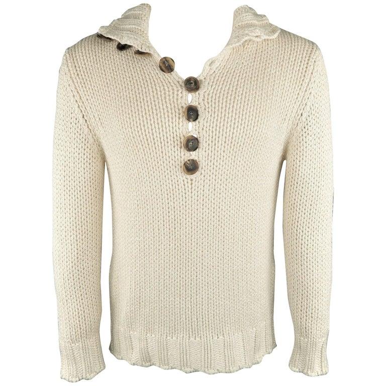 Salvatore Ferragamo Beige Knitted Silk / Cashmere Half Button Sweater