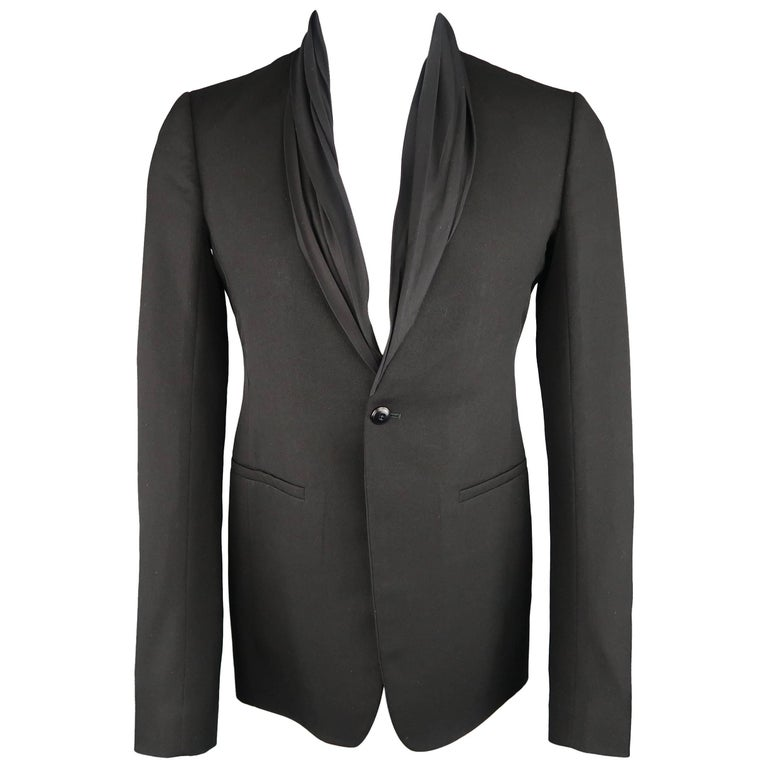 Rick Owens Men's 38 Black Wool Draped Shawl Collar Single Button Sport Coat NWT