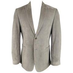John Varvatos Men's 38 Short Gray Suede Peak Lapel 2 Button Sport Coat