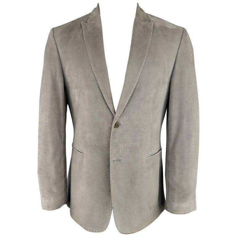 a02fd49434cf0 John Varvatos Men's 38 Short Gray Suede Peak Lapel 2 Button Sport Coat For  Sale