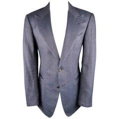 Tom Ford Men's 40 Regular Navy Linen / Silk Sport Peak Lapel Patch Pocket Coat