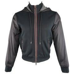 Moncler Men's M Black Jersey and Nylon Hooded Zip Jacket