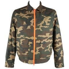 Men's AMI by ALEXANDRE MATTIUSSI XL Green Camouflage Neon Orange Zip Jacket