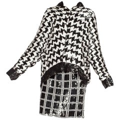 Black and White Houndstooth Sequin Bomber Jacket and Skirt