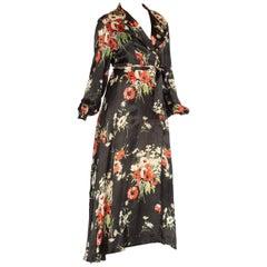 Floral Satin Wrap Dress Dressing Gown, 1940s