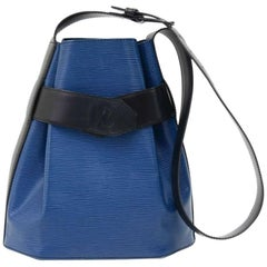Vintage Louis Vuitton Sac Depaule PM Vio Blue & Black Epi Leather Shoulder Bag