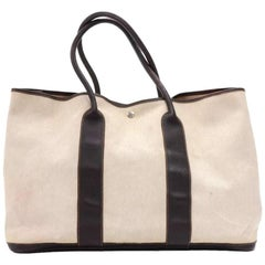 Hermes Garden Party GM Chocolate Brown Leather Beige Canvas Hand Bag