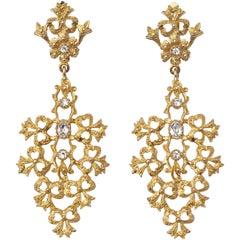 Gold Tone Clear Rhinestones Flower Bows Chandelier Vintage Statement Earrings
