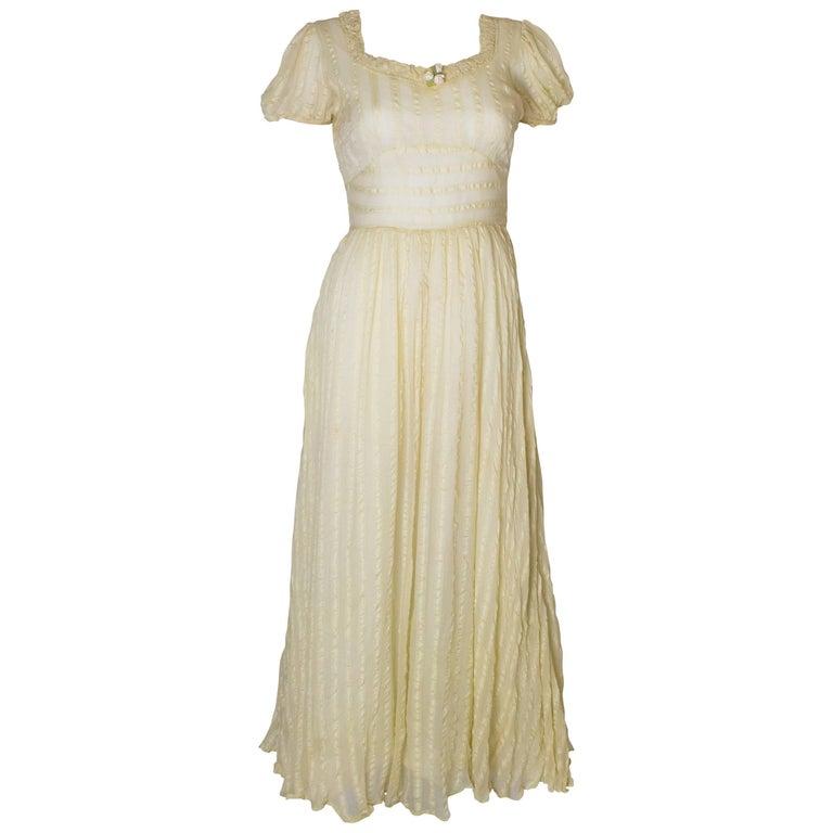 Yellow Silk Vintage Gown