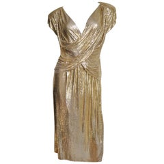1970s Ferrara Gold Metal Mesh Chainmail 3 Piece Top, Skirt, & Halter