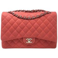 Chanel Paris Coral Caviar Matte Leather Maxi Jumbo Timeless Bag, 2015